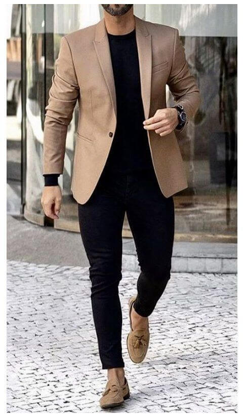 men in brown outerwear and black outfit