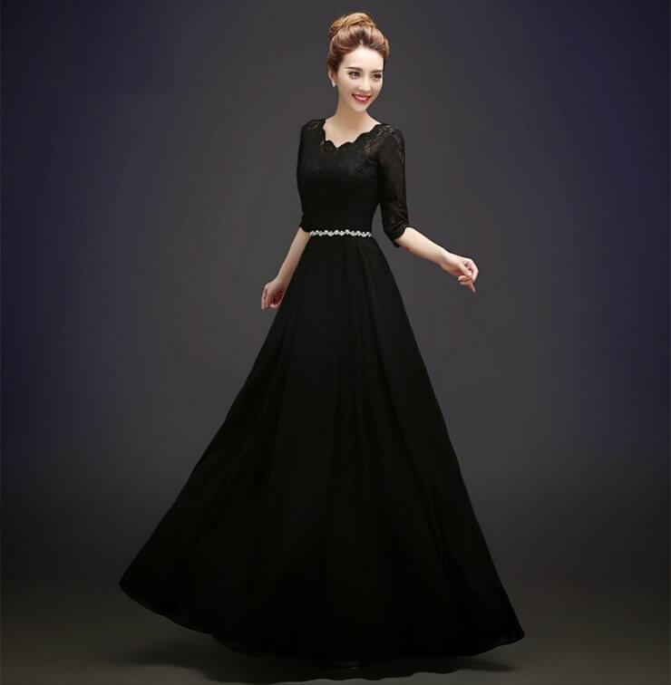 lady in a black dress