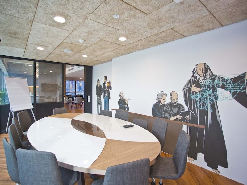 Big Meeting room with murals on wall