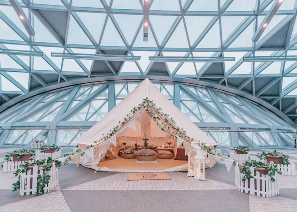 beige tent with flowers decoration in singapore airport