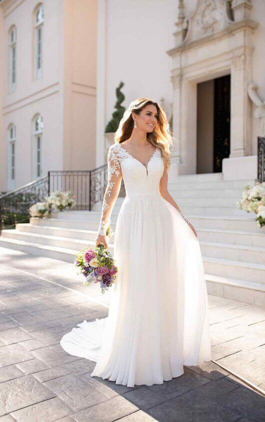 lady walking with white wedding gown