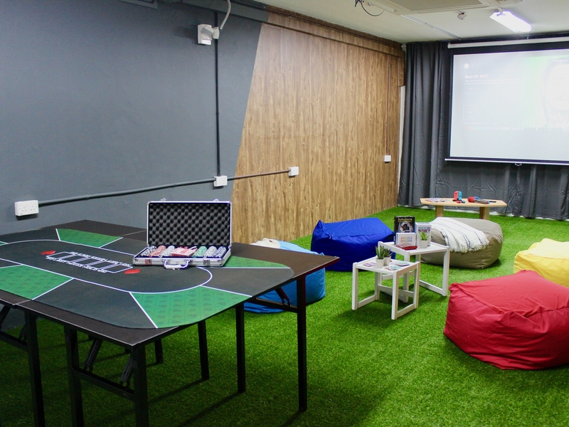studio room with colourful interior and bean bag
