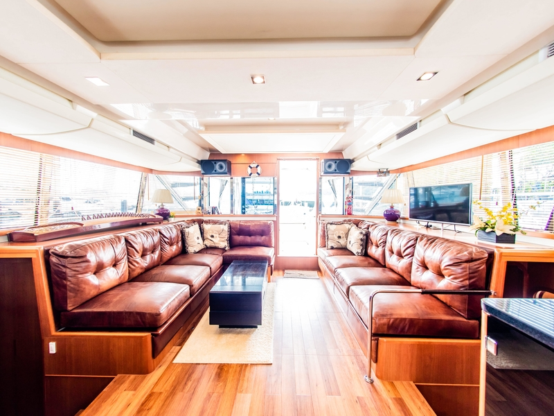 main deck equipped with karaoke system and tv screen