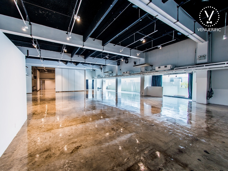 Wide space with hardwood floor and ceiling lights