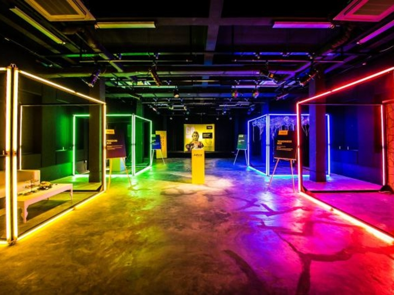 Unique event space with neon coloured LED lighting