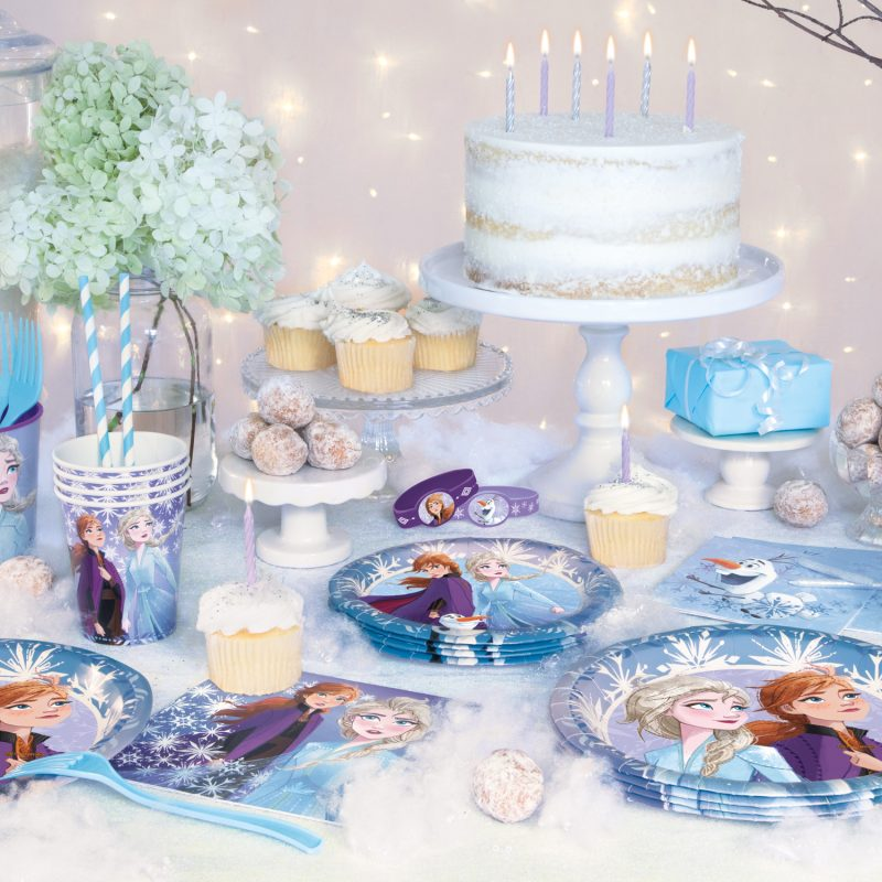 Frozen cake and plates and decorations