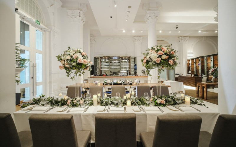 Wedding table set with floral decorations
