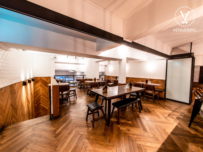 wooden theme cafe area located at the second floor