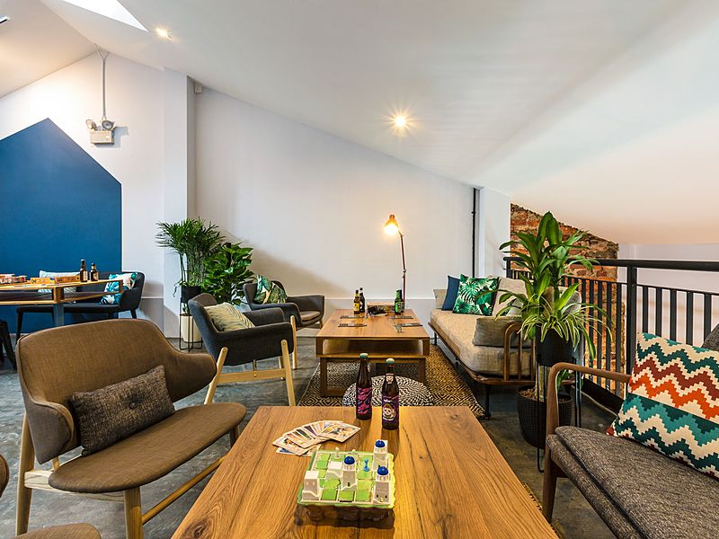 A dining area with beer and board games