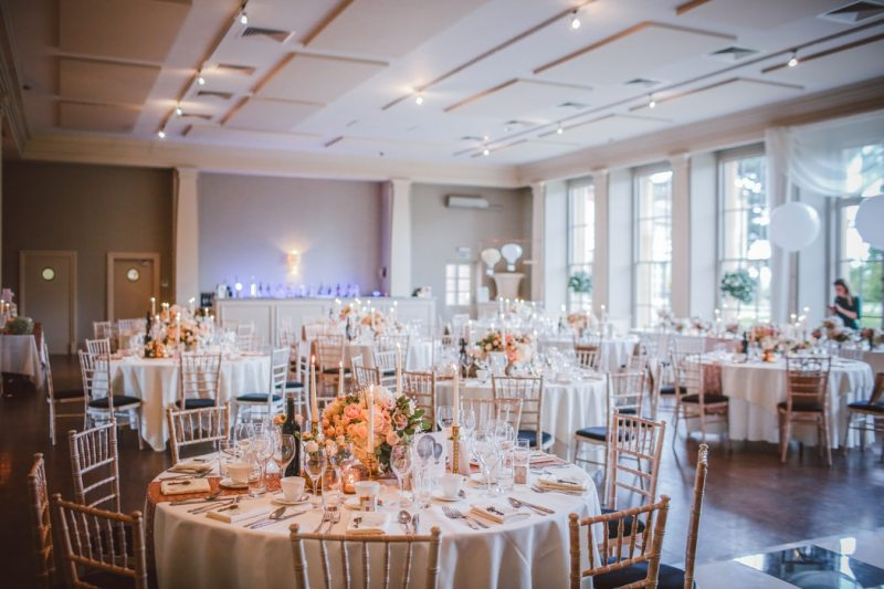 wedding dining hall with tables and chairs