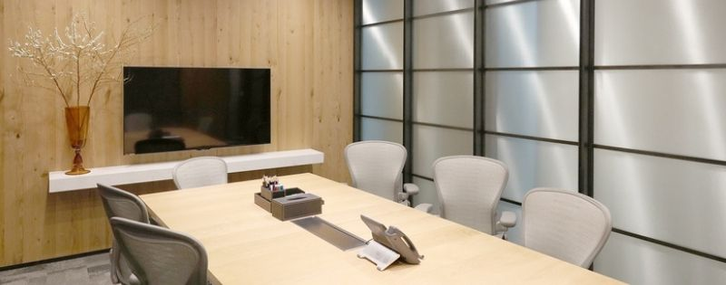 Elegant executive meeting room with TV