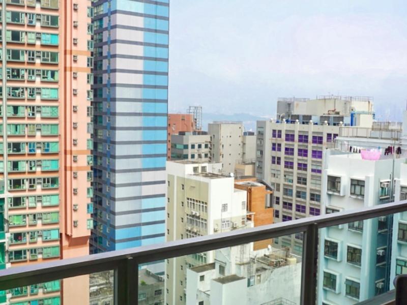 terrace view of hong kong buildings