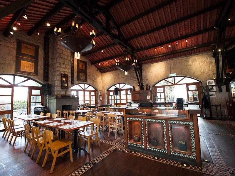 wooden indoor seating area in a restaurant