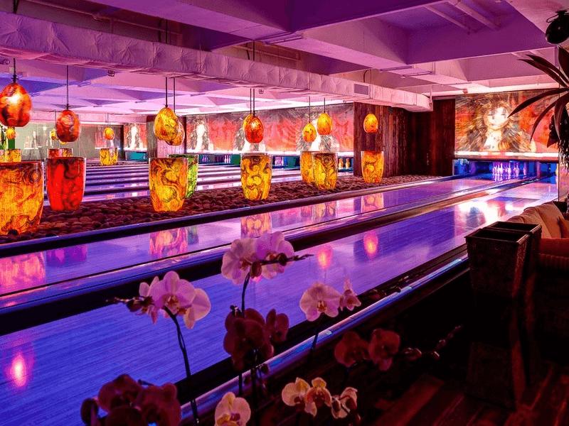 unique bowling bar with colourful decor