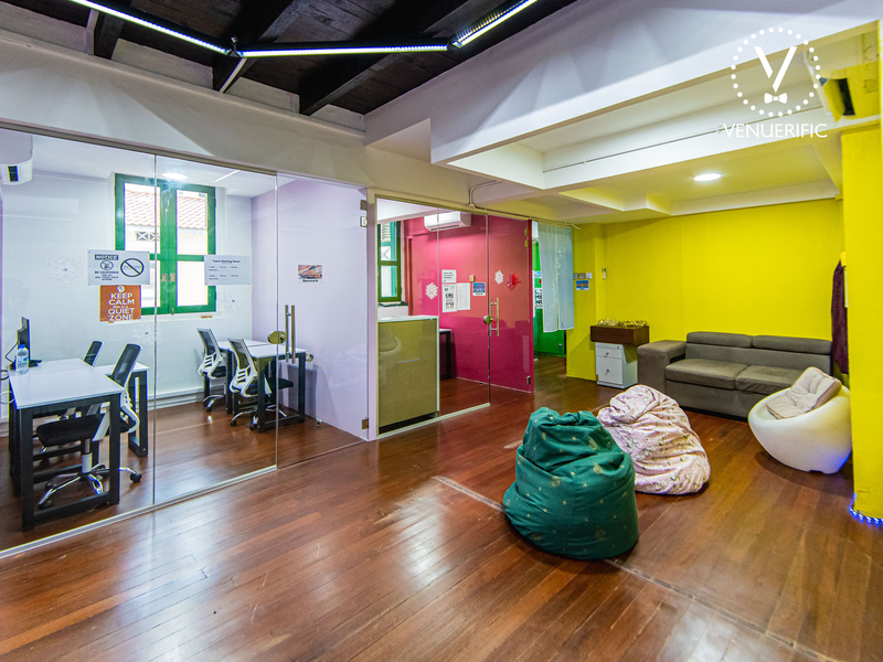 Indoor meeting venue with yellow walls, sofas and bean bags on wooden floor