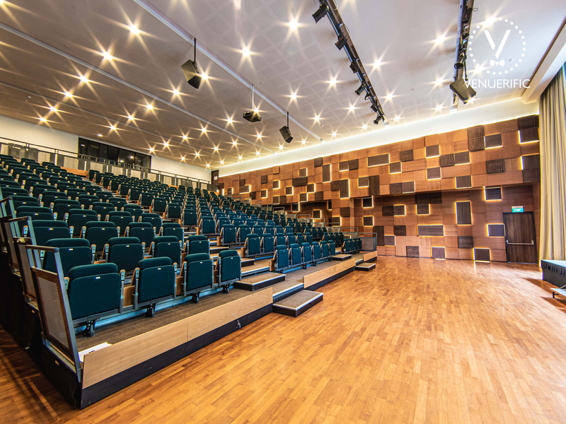 auditorium with black foldable chairs