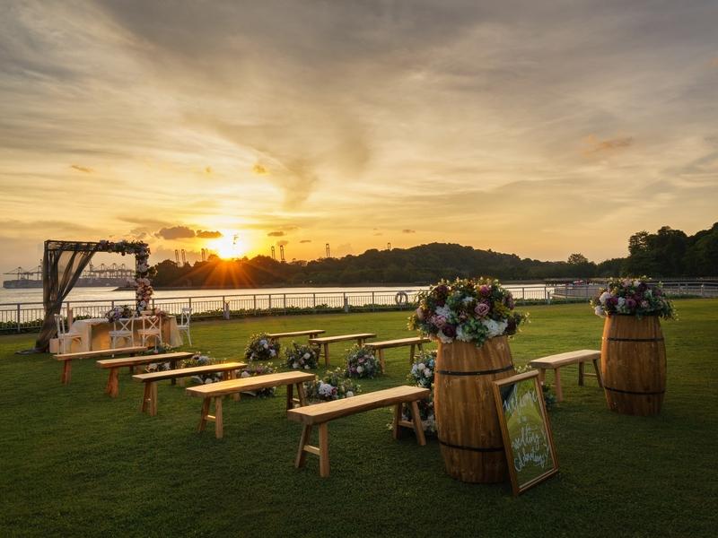 outdoor wedding set up during sunset