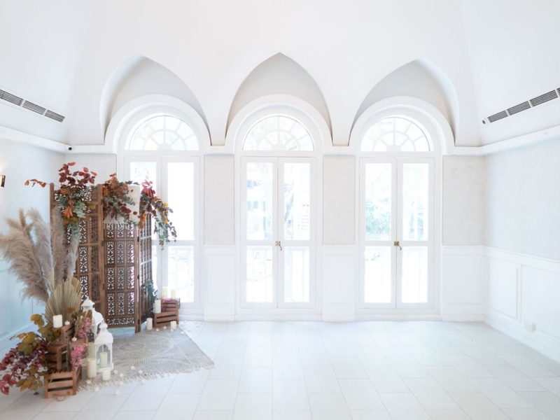 floral decorations in a white room