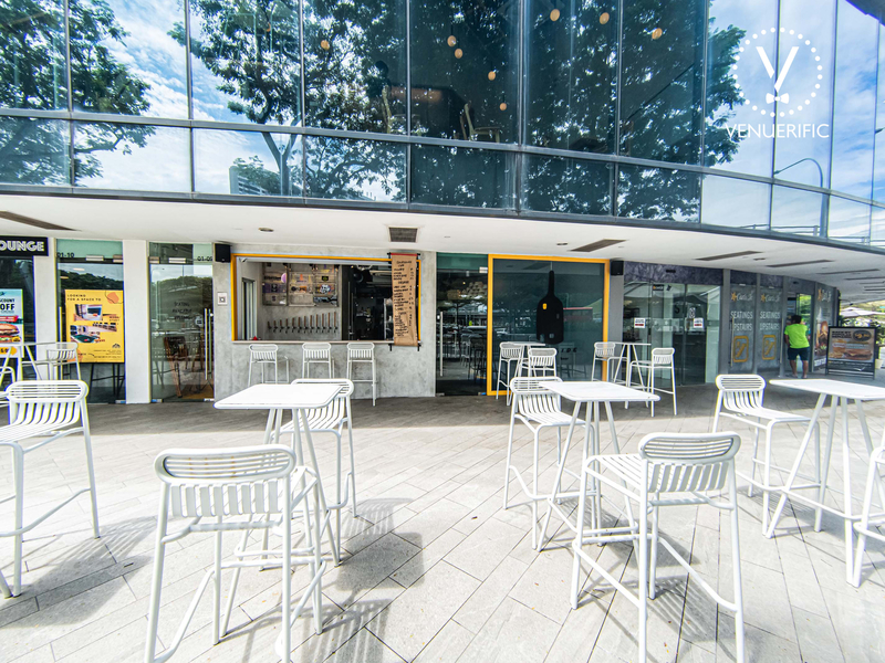 white furnishing at outdoors area of a cafe