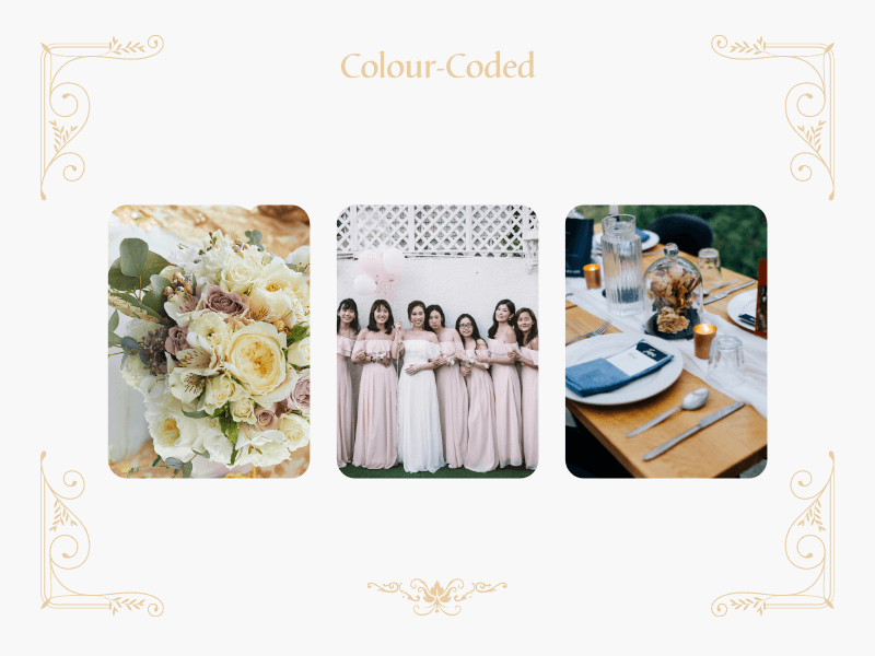 collage with yellow flowers and bridesmaid