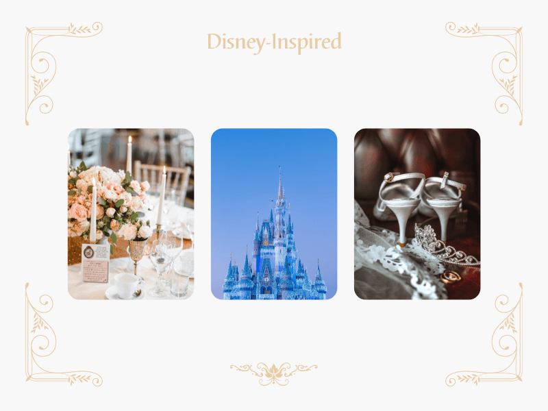 collage with disney castle and tiara