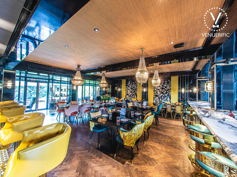 Restaurant with beautiful colours and decor perfect for a corporate event