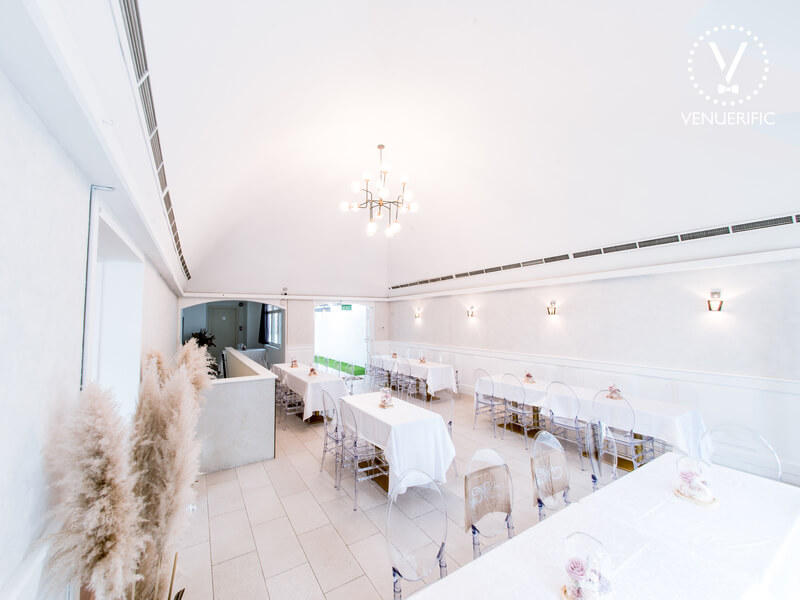 all white dining area