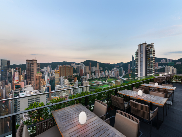 Scenic rooftop with view of Hong Kong