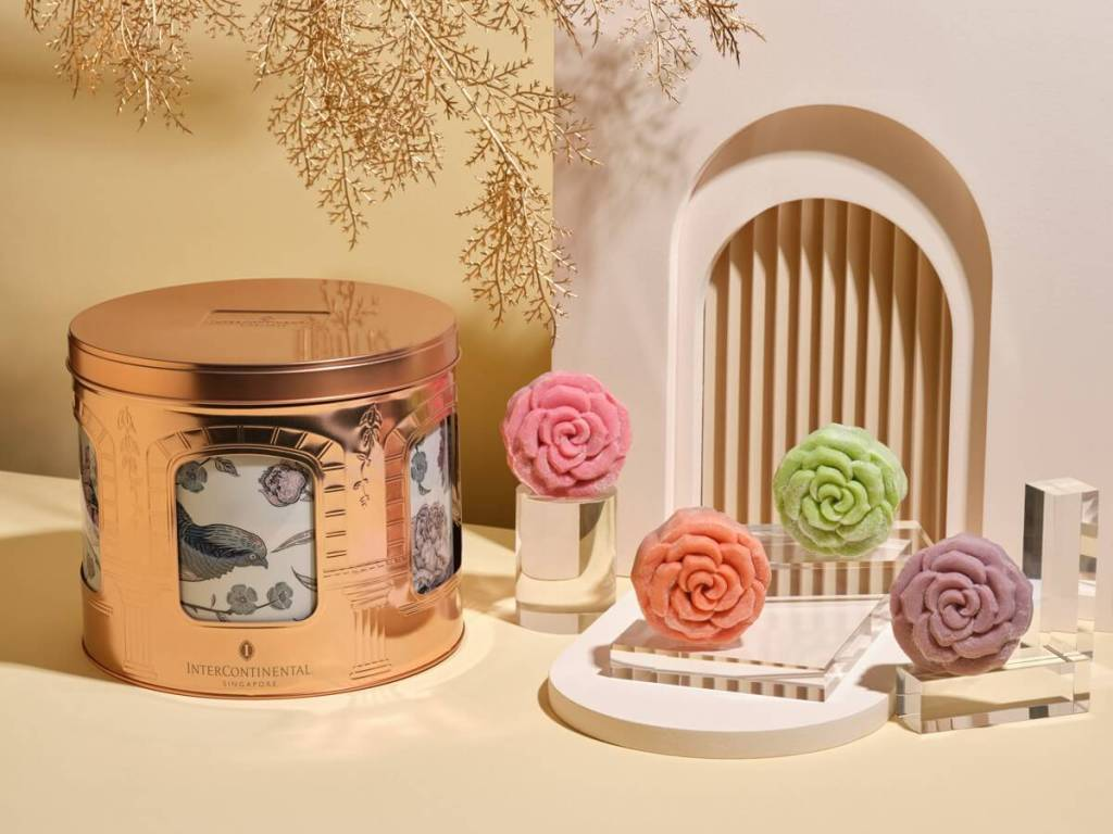 colourful flower mooncakes