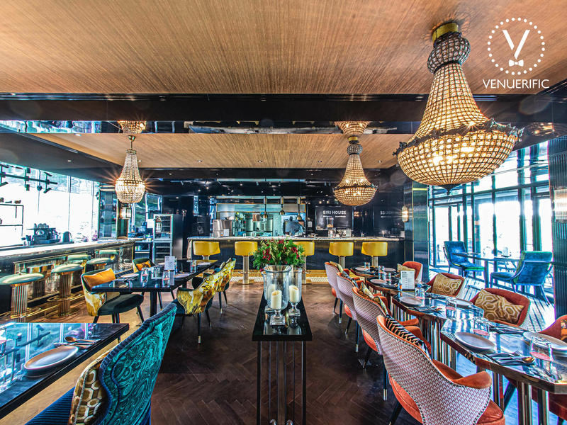 restaurant with luxurious interior and chandeliers
