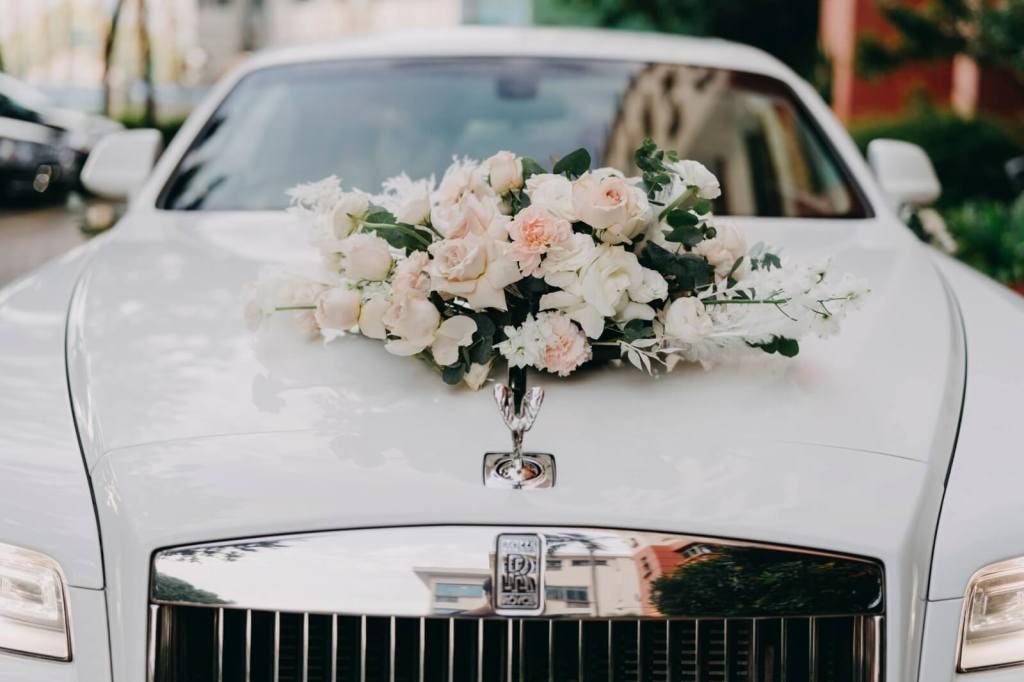 bridal car with flowers