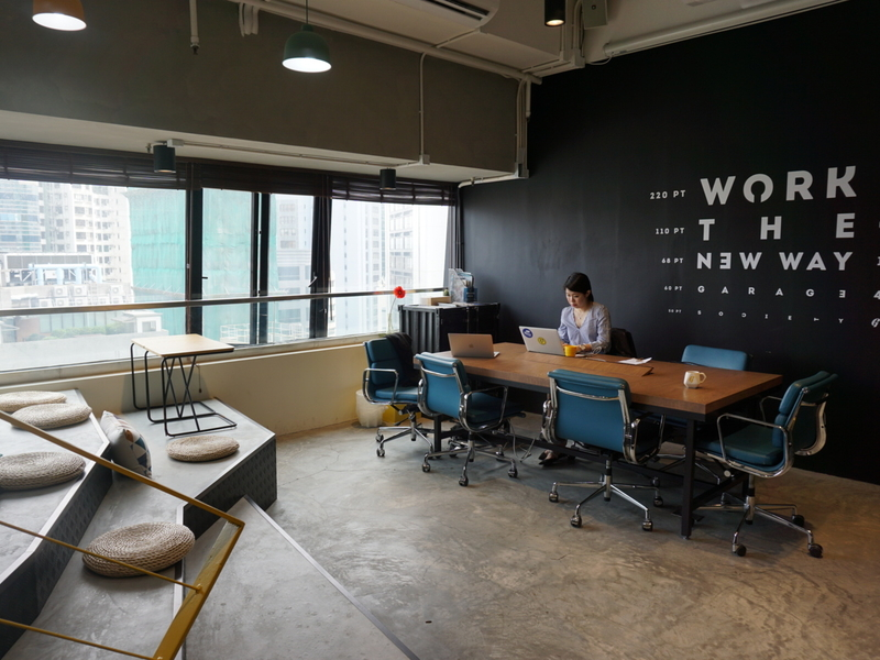 woman working in co working space
