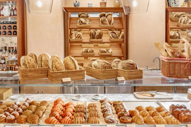 different kinds of baked goods on a bakery