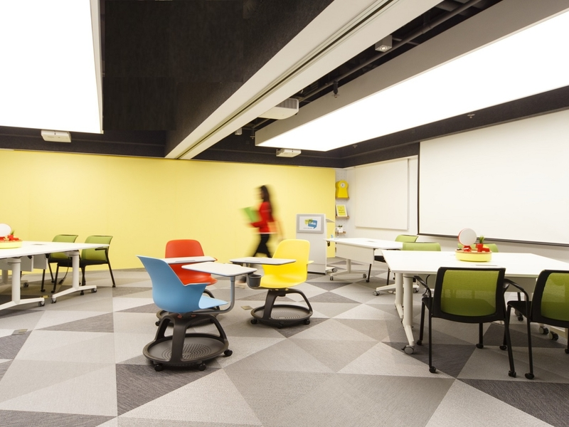 meeting room with movable colourful chairs