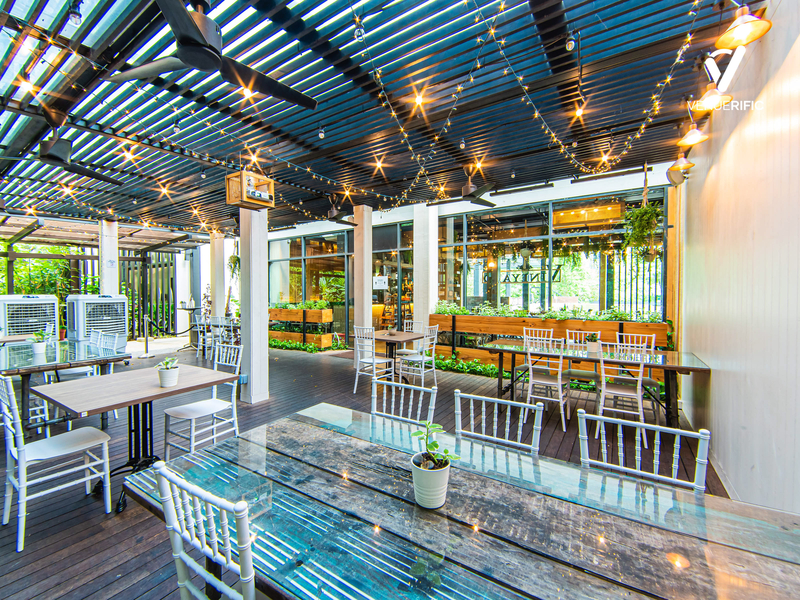 outdoor seating area of a restaurant
