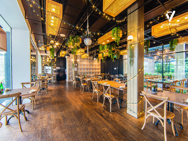 rustic restaurant with plants