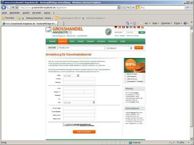 Grosshandel Angebote de Registrierung