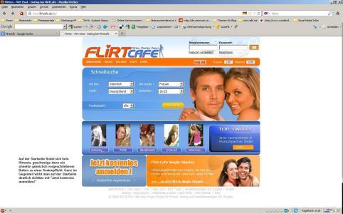 Screenshot: Flirtcafe Startseite