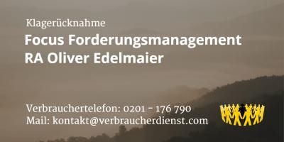 Beitragsbild: Klagerücknahme Focus Forderungsmanagement / Oliver Edelmaier