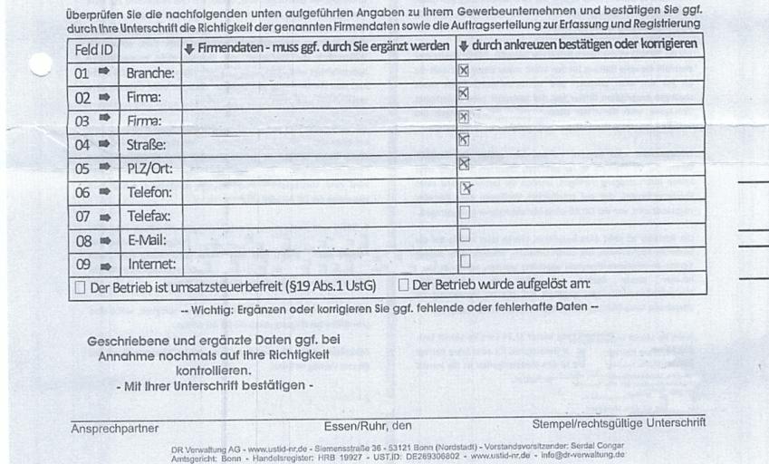 Bild DR Verwaltung AG Formular