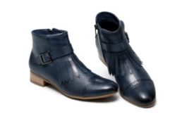 Bahati Flat Heel Ankle Women Leather Boots - Blue