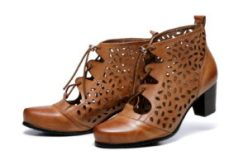 Shae Perforated Flat Heel Ankle Women Leather Boots - Brown