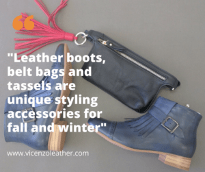 leather handbags, tassels and belt bags