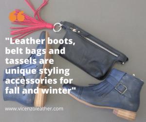 leather handbags, tassels and belt bags
