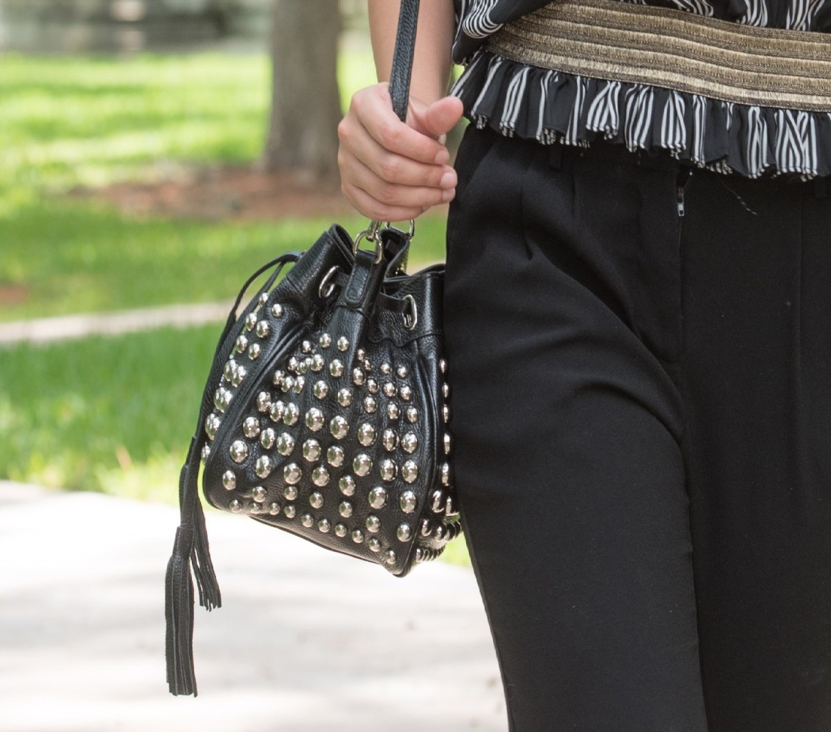 Finally, a Small Studded Bucket Crossbody Bag That Isn't Too Boring…