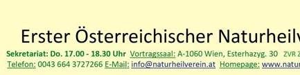 Veranstaltungen: Erster Österreichischer Naturheilverein