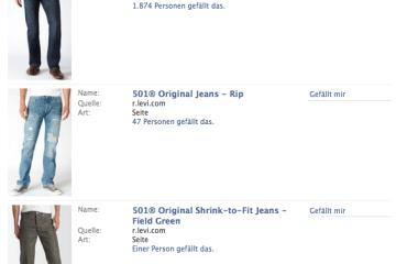 Im Facebook Suchergebnis erscheint genau dieses Produkt an erster Stelle
