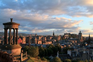 Edinburgh Scotland sunset skyline from Calton Hill