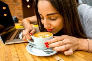 Woman enjoying coffee