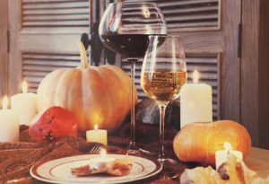 Autumn place setting. Thanksgiving dinner